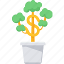 ecology, finance, growth, investment, money, money plant, plant icon
