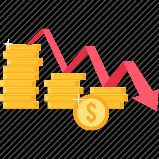 decrease, fall, low, no profit, revenue, sales down icon