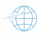 abroad, airplane, flight, international, plane, tour, travel icon