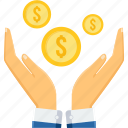 cash, dollar, gesture, hand, money, revenue, share icon