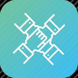 handshake, partnership, people, team, youth icon