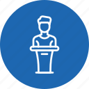 host, man, podium, presentation, speaker icon
