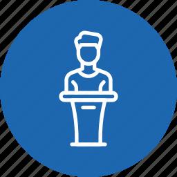 host, man, podium, presentation, speaker icon