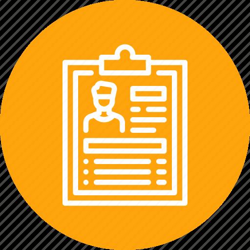 cv, detail, employee, report, resume icon