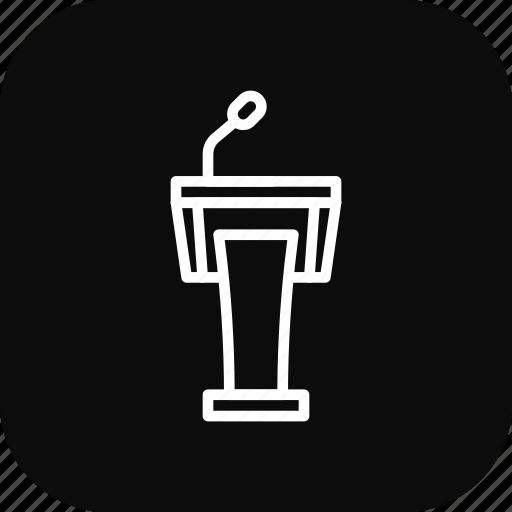 audio, mike, podium, presentation, speaker, table icon