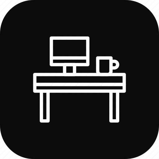 coffee, desk, laptop, mug, office, table icon