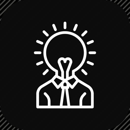 creative, head, idea, light, thinking icon