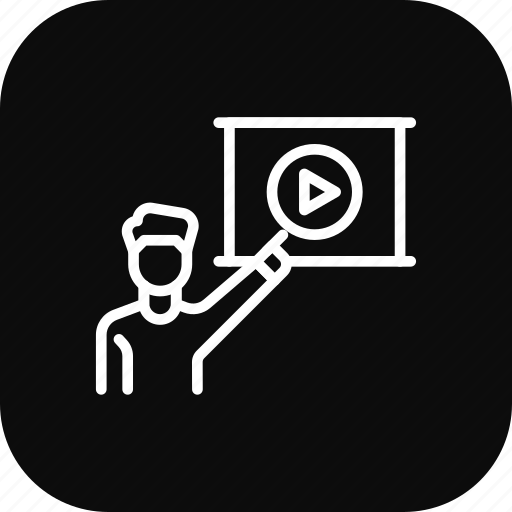 conference, employee, presentation, video icon