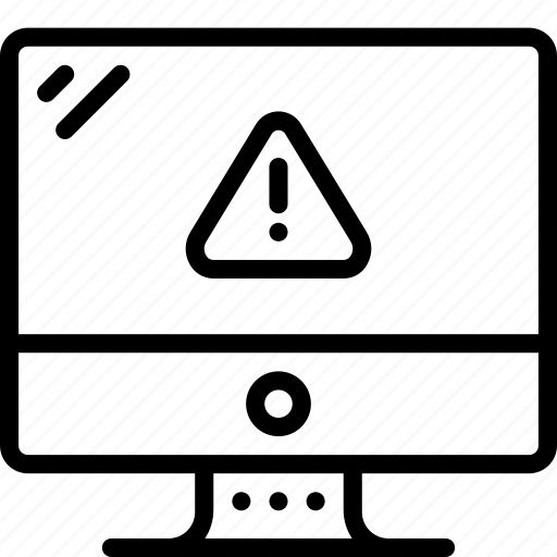 alert, computer, equipment, imac, office, outline icon