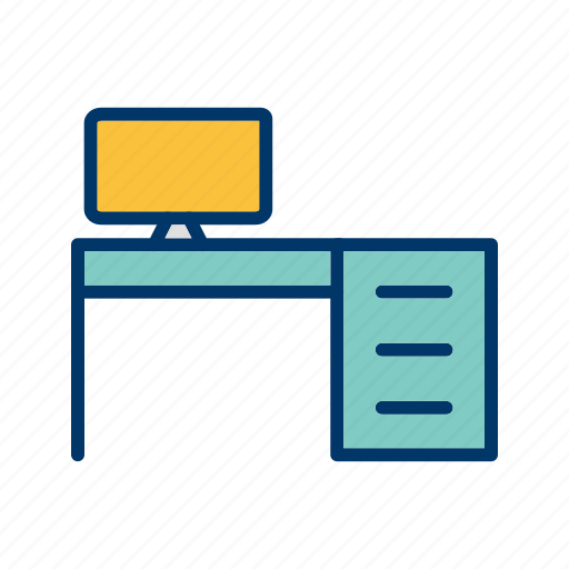 computer, desk, table icon
