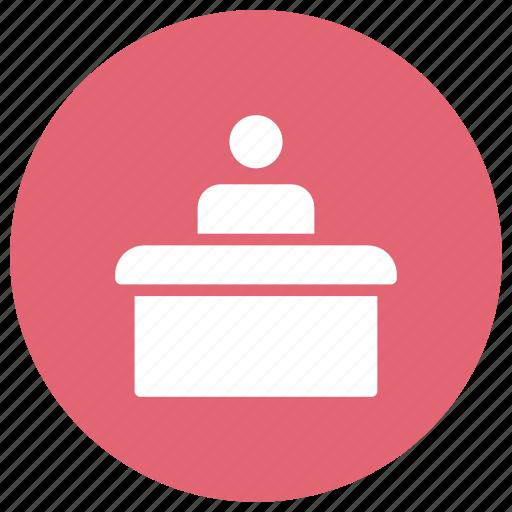 counter, desk, reception, support icon