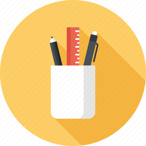 office, pen, pencil, ruler, school, supplies, tools icon