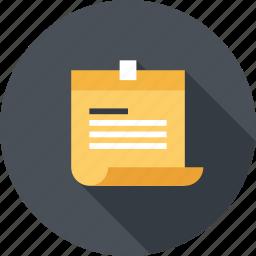 note, paper, plan, reminder, schedule, sticker, to do icon