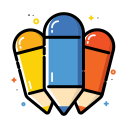 colorful, office, pencil, school icon