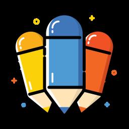 colorful, office, pencil, school icon
