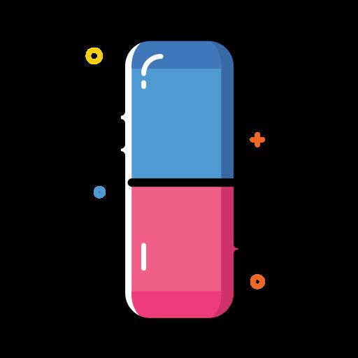colorful, eraser, office, remove, rubber, school icon