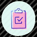 board, check, graph, presentation, report, statistics icon