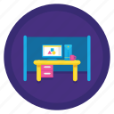 cubicle, workspace, workstation icon