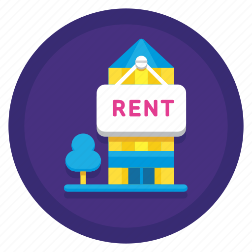 building for rent, for rent, office for rent, rental, unit for rent icon