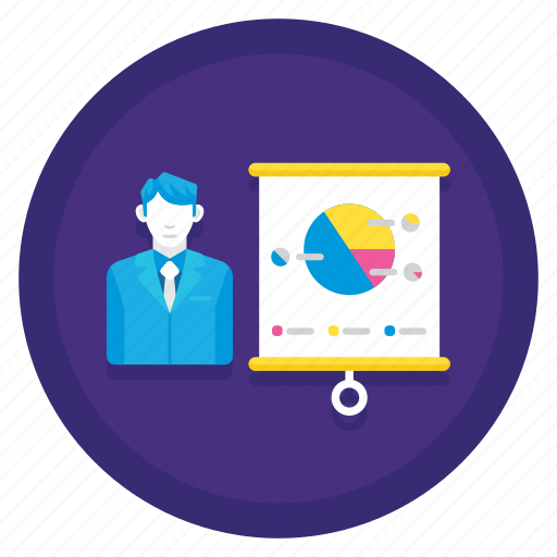 chart, diagram, graph, presentation, presenter icon