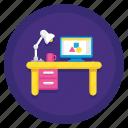desk, study, table, work, workspace, workstation