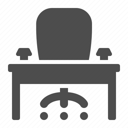 chair, cubicle, desk, office, table icon