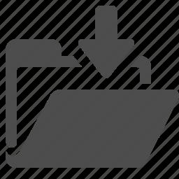 arrow, file, folder, office, open icon