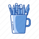 mug, pen in a mug, pens, write icon