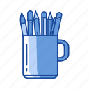 mug, pen, pen in a mug, write icon