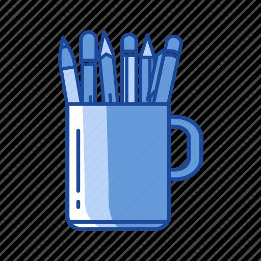 mug, pen, pen in a mug, write icon