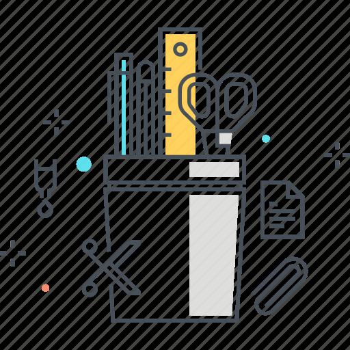 box, pen, pencil box, ruler, scissor, tools icon