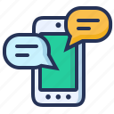 chat, message, online, smartphone icon