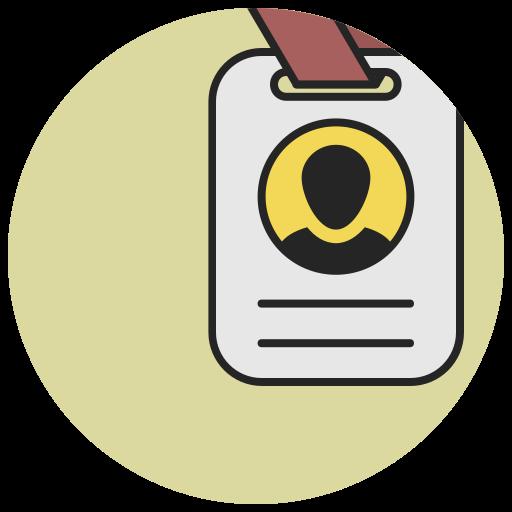 badge, card, document, id, identification card, identity, profile icon