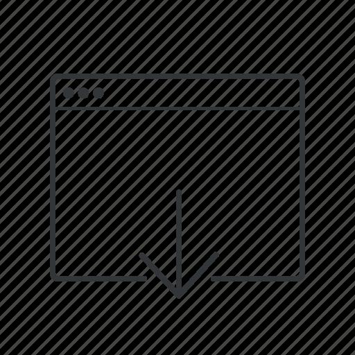 arrow, browser, down, download, webpage, website, window icon