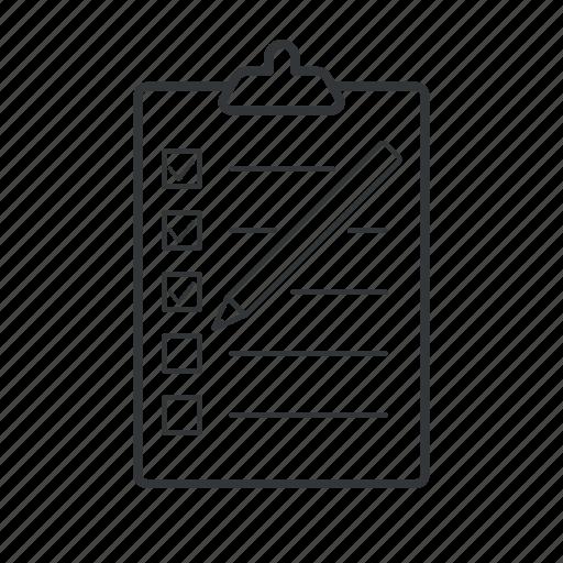 check, checkbox, checklist, mark, pad, pencil, tick icon