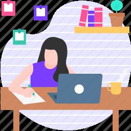 writing, office, desk, people, write