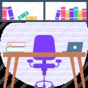 cubicle, workplace, office, desk, laptop, paper, file