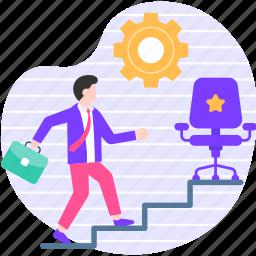 job, promotion, goal, target, profession, achievement, steps