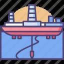 drill ship, drilling ship, oil drill icon