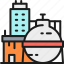 building, chemical, factory, gas, industrial, oil, plant icon