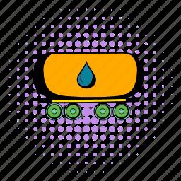 comics, fuel, gasoline, oil, railway, tank, transportation icon