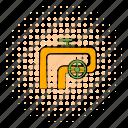 pipeline, comics, valve, metal, equipment, handwheel, technology icon