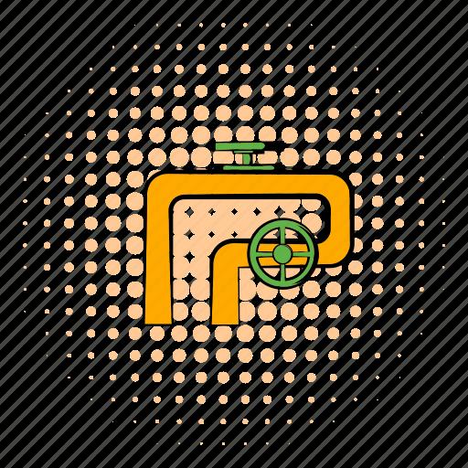 comics, equipment, handwheel, metal, pipeline, technology, valve icon