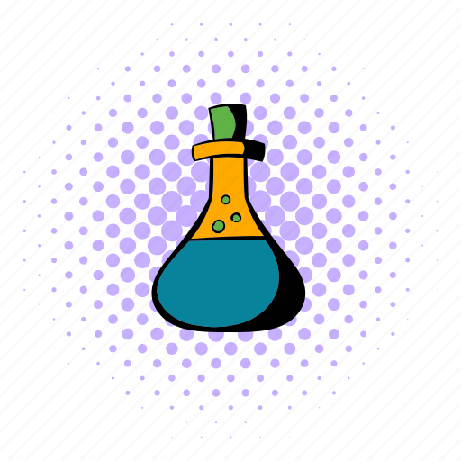 analysis, chemical, comics, flat icon, laboratory, research, sample icon