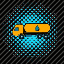 cargo, comics, tank, tanker, transport, transportation, truck icon