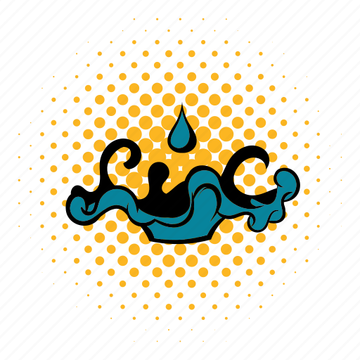 comics, energy, fuel, liquid, oil, spill, splash icon