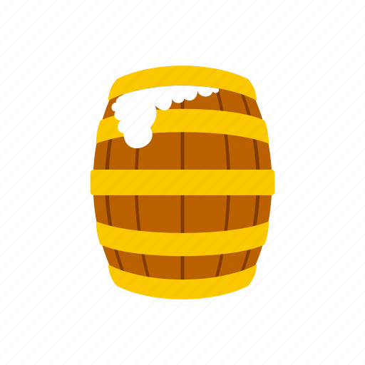 alcohol, barrel, drink, froth, old, tap, wood icon