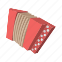 accordion, cartoon, instrument, keyboard, music, musical, traditional icon