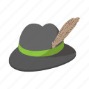cartoon, dress, feather, green, hat, old, traditional icon