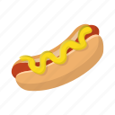 bun, cartoon, grilled, hotdog, meat, mustard, sausage icon